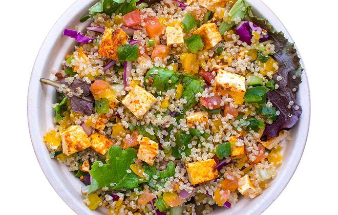 Paneer with quinoa and greens bowl is one of the choices at Naan-tastic. (Naan-tastic)
