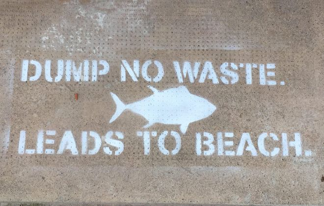 These stencils will be popping up around storm drains in Hamburg. (Photo courtesy of Sean Ryan)