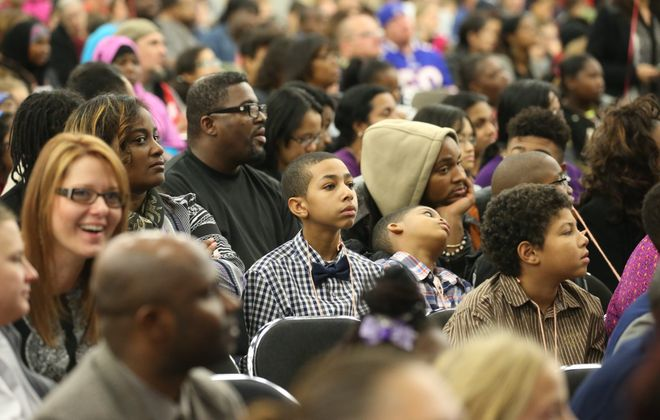 Parents and children at 2015's Summer Reading Challenge awards at the Buffalo Niagara Convention Center. (John Hickey/Buffalo News)