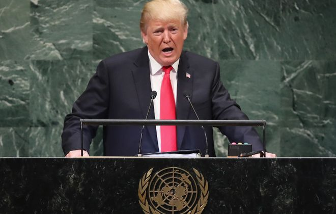 President Donald Trump addresses the United Nations General Assembly on September 25, 2018 in New York City. (Getty Images)