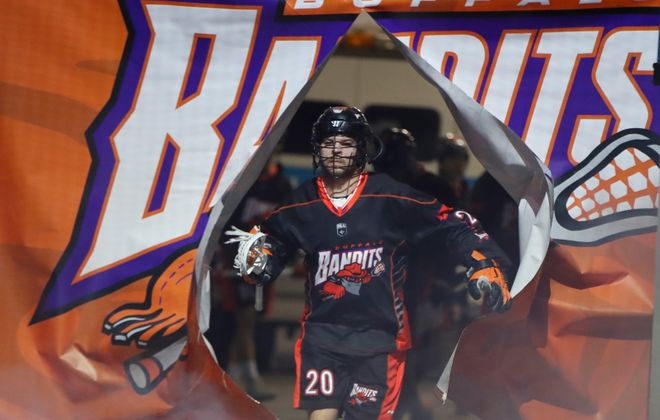 Buffalo Bandits Nick Weiss is introduced prior to playing the Rochester Knighthawks at the KeyBank Center on Saturday April 28, 2018. (Harry Scull Jr./Buffalo News)