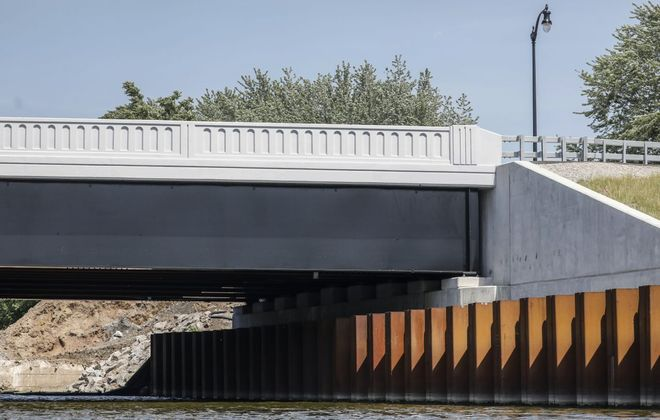The newly constructed Bailey Avenue bridge over the Buffalo River has been named for the late Sheriff Thomas Higgins. (Derek Gee/Buffalo News)