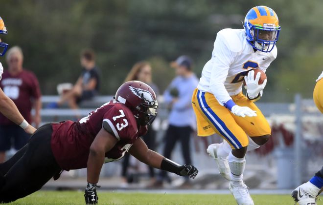 Cleveland Hill running back Javon Thomas played a role in the Golden Eagles bouncing back from a season-opening loss at Maryvale by rushing for 170 yards and three touchdowns in a Week Two win over Wilson. (Harry Scull Jr./Buffalo News)