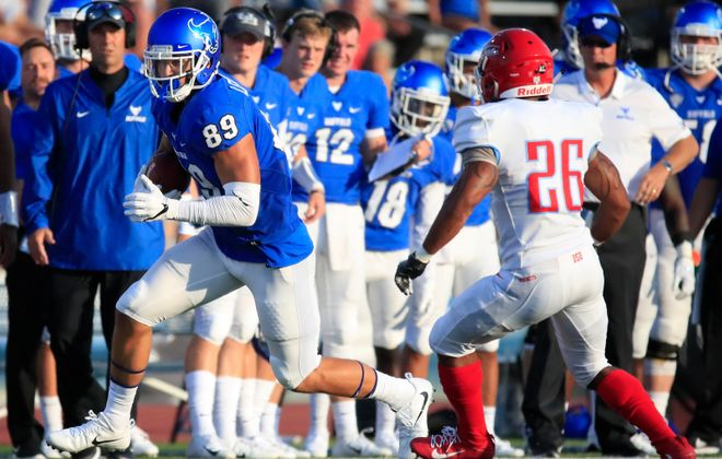 University at Buffalo tight end Zac Lefebvre runs after a catch against Delaware State. (Harry Scull Jr./News file photo)
