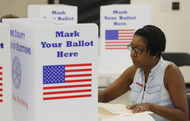 In-person voting for the June 16, 2020 school board elections was replaced by absentee voting across New York State to help stop the spread of the coronavirus. (Buffalo News file photo)