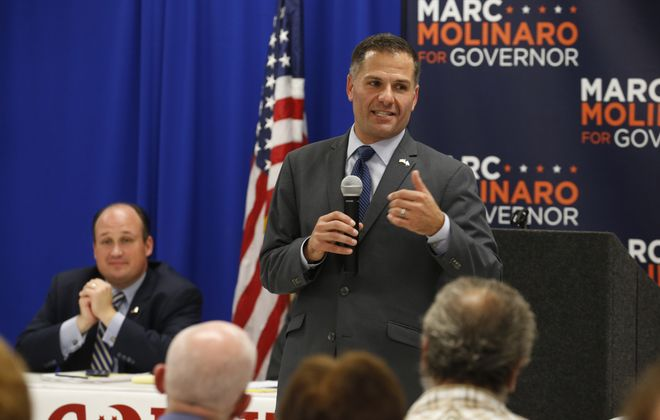 GOP gubernatorial candidate Marc Molinaro speaks to supporters at an Erie County Republican meeting in Cheektowaga in September. (Robert Kirkham/Buffalo News)