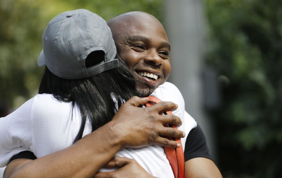 Valentino Dixon, shown at his release in 2018 after 27 years of imprisonment for a murder he did not commit, has filed a lawsuit claiming corruption in law enforcement led to his wrongful conviction. (Derek Gee/News file photo)