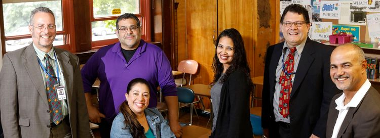 Several staff came to Lafayette International High School as a result of recruitment in Puerto Rico. From left, teacher Emil Rivera, teacher Steven Pantoja, teacher Ileanette Guadalupe, counselor Rocio Cortes-DeGarmo, teacher Israel Balentin and aide Jorge L. Reyes Diaz. (Derek Gee/Buffalo News)