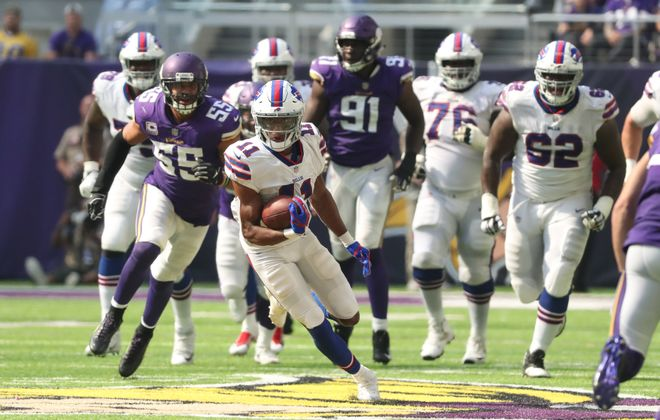 Buffalo wide receiver Zay Jones will try to make big plays for the Bills against Green Bay on Sunday. The Packers are favored by 10.5 points. (James P. McCoy/Buffalo News)