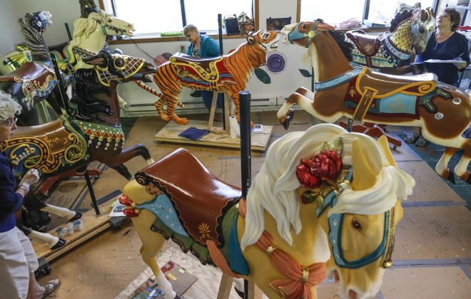 The horses and other animals coming to the carousel at Canalside are being restored at a workshop in North Tonawanda. (Derek Gee/Buffalo News)