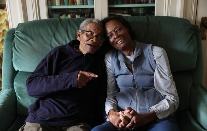 "Ed and Evelyn Talley, in their Northland Avenue home,  have been married for 58 years.   Ed, 89, has been struggling with Alzheimer's. ""I thought if anyone could take care of him and have the patience to do it it would be me,"" said Evelyn. (Sharon Cantillon/Buffalo News)"