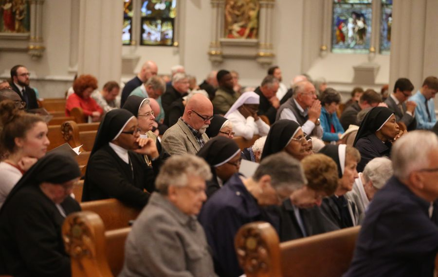 """Bishop Richard J. Malone lead a """"Holy Hour of Prayer for Reparation and Healing"""" at St. Joseph Cathedral on Sunday, Sept. 30, 2018, regarding the sexual abuse crisis that has gripped the diocese for months. (John Hickey/Buffalo News)"""