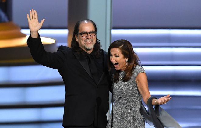 Glenn Weiss  and Jan Svendsen got engaged onstage during the 70th annual Emmy Awards. (Kevin Winter/Getty Images)