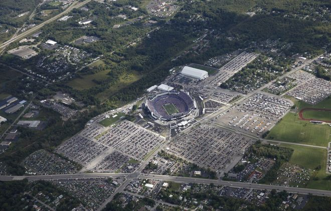 Aerial photos over then-Ralph Wilson Stadium during the Buffalo Bills home opener against Miami, Sunday, Sept. 14, 2014.  (Sharon Cantillon/News file photo)