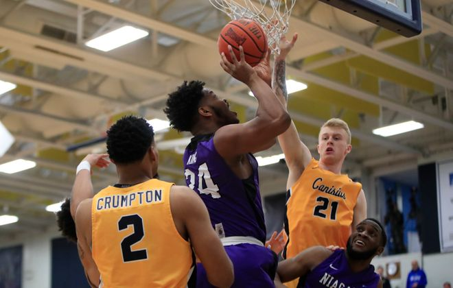 Niagara's Greg King shoots against Canisius during first half action at the Koessler Center on Saturday, Jan. 27, 2018. (Harry Scull Jr./Buffalo News)