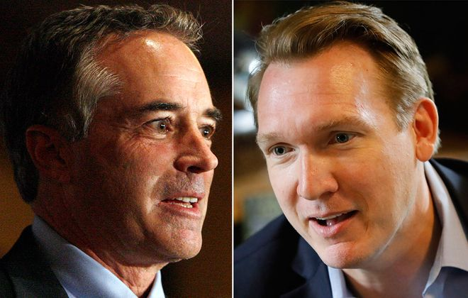 Rep. Chris Collins, a Republican from Clarence, and Democratic congressional candidate Nathan McMurray. (News file photos)
