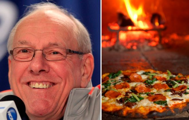 Jim Boeheim, smiling at a press conference when Syracuse played in the NCAA Tournament in Buffalo, as well as a pizza from Siena, Boeheim's favorite Buffalo restaurant. (Harry Scull Jr./News file photo;