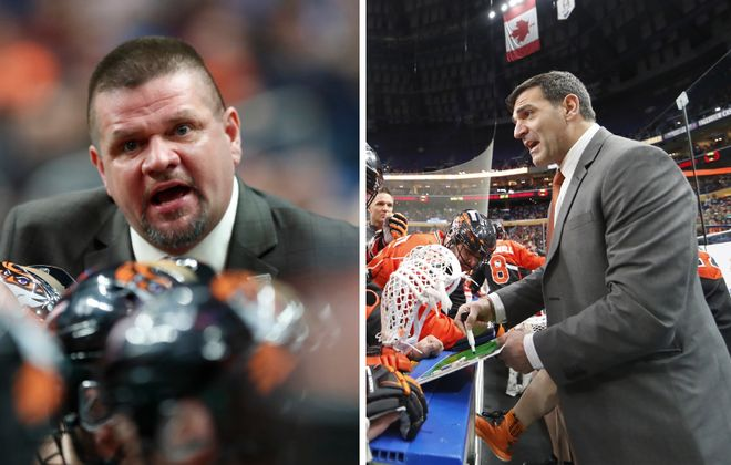 Rich Kilgour, left, and John Tavares, right, are co-head coaches for the Bandits this season. (Harry Scull Jr./Buffalo News)