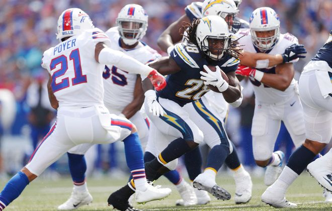 The Chargers' Melvin Gordon takes off on a run. (Mark Mulville/Buffalo News)