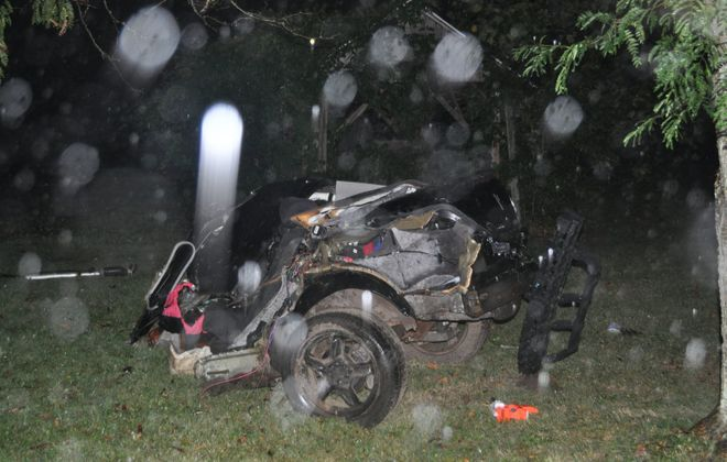 A vehicle was split in two following a crash in the Town of Gaines. (New York State Police)