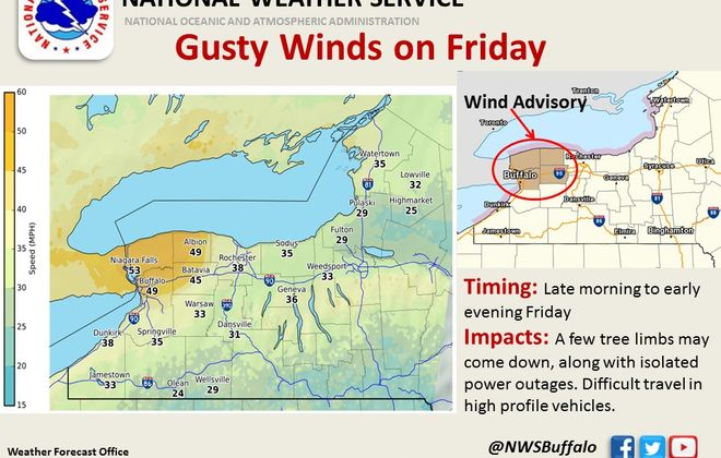 The strongest winds are expected across the Niagara Frontier. (National Weather Service graphic)