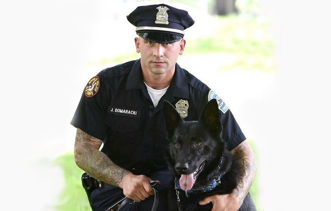 Officer Jared Domaracki with his K9 partner Lehner. (Photo courtesy Buffalo Police Department)
