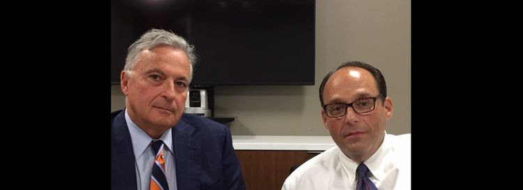 Andrew Shaevel, right, owner of Hylan Asset Management, and his attorney Dennis Vacco. According to a noncriminal complaint filed by the government agencies, Hylan Asset is a multimillion-dollar player in the seamy world of debt collection. (Dan Herbeck/Buffalo News)