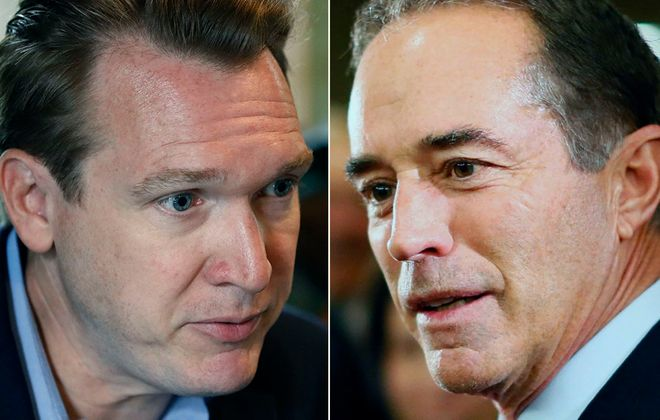 Democratic congressional candidate Nathan McMurray and Rep. Chris Collins, a Republican from Clarence, both advertised on Entercom radio stations during last year's campaign. The Federal Communications Commission has opened an inquiry into the stations' handling of campaign ads. (News file photos)