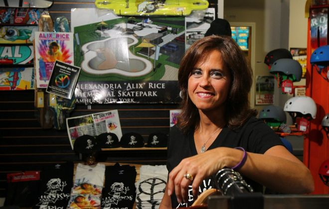 Co-owner Fran Knab at the Phatman Boardshop in Tonawanda in 2014. The Knabs have purchased a property 1 mile away on Bailey Avenue in Amherst but aren't ready to reveal their plans for the building.  (Mark Mulville/Buffalo News file photo)