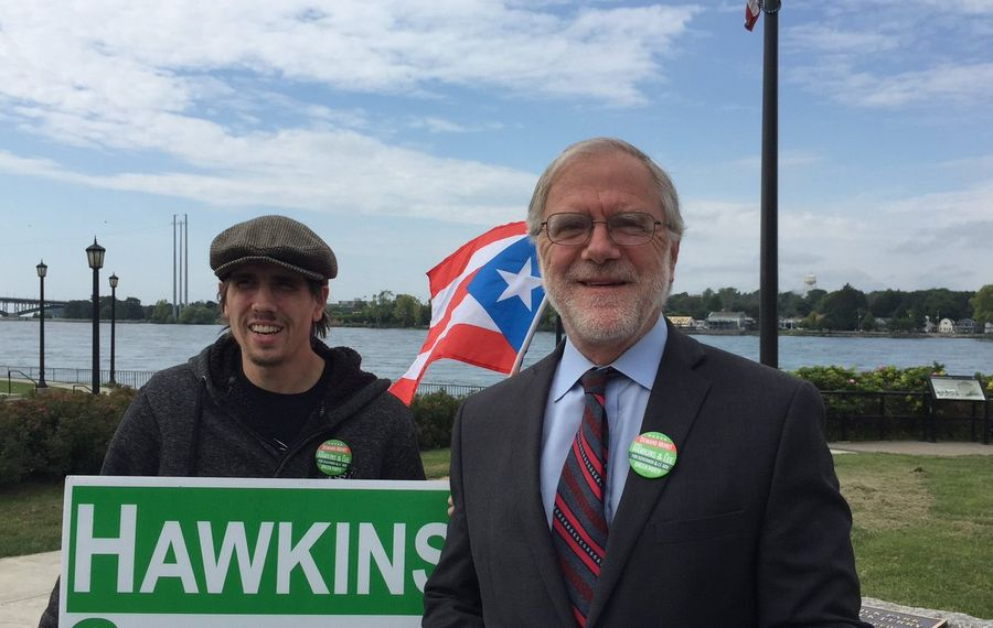 Howie Hawkins, right, the Green Party candidate for governor, campaigned at Buffalo's Broderick Park on Thursday. (Keith McShea/Buffalo News)