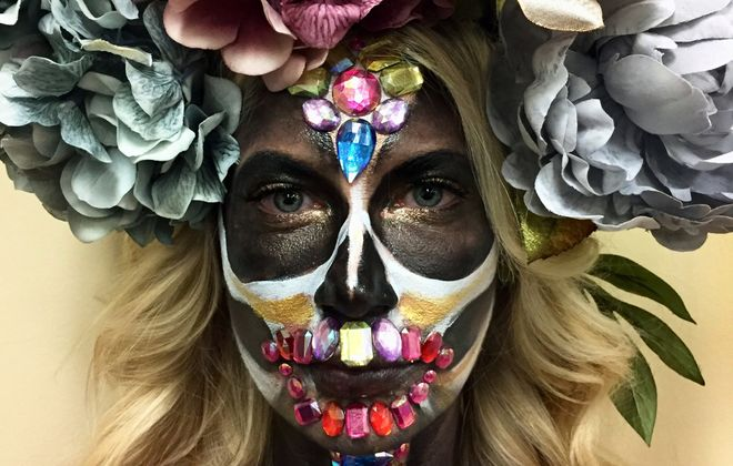 Makeup is one of the fastest growing Halloween costume trends. Katie Ambrose of Groom Service created this look for model Roselyn Kasmire last year, including hair and make-up. (Katie Ambrose)