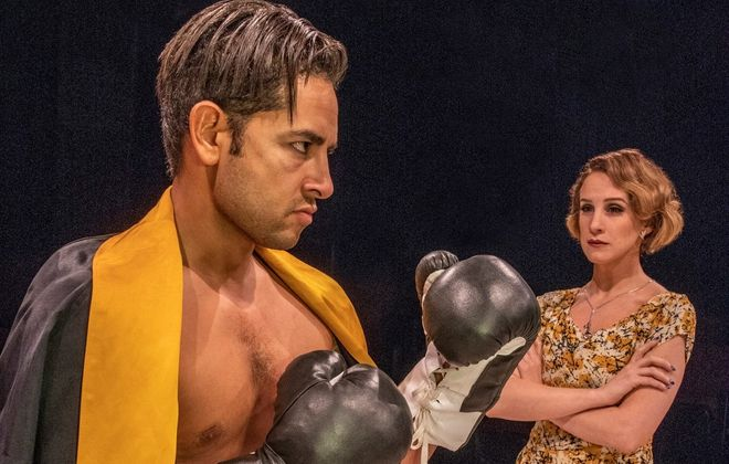 """Anthony Alcocer as Joe Bonaparte and Cassie Cameron as Lorna Moon give exceptional performances in """"Golden Boy"""" at Irish Classical Theatre Company. (Photo by Gene Witkowski)"""
