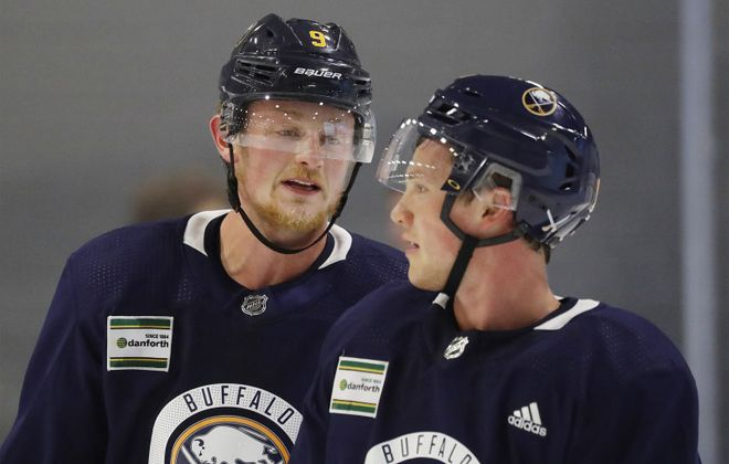 Jack Eichel (left) and Jeff Skinner will be linemates as the Sabres scrimmage Sunday in HarborCenter (Mark Mulville/Buffalo News).