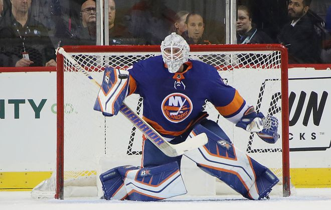 Robin Lehner will start in goal for the Islanders against the Sabres Friday night in Oshawa. (Getty Images)