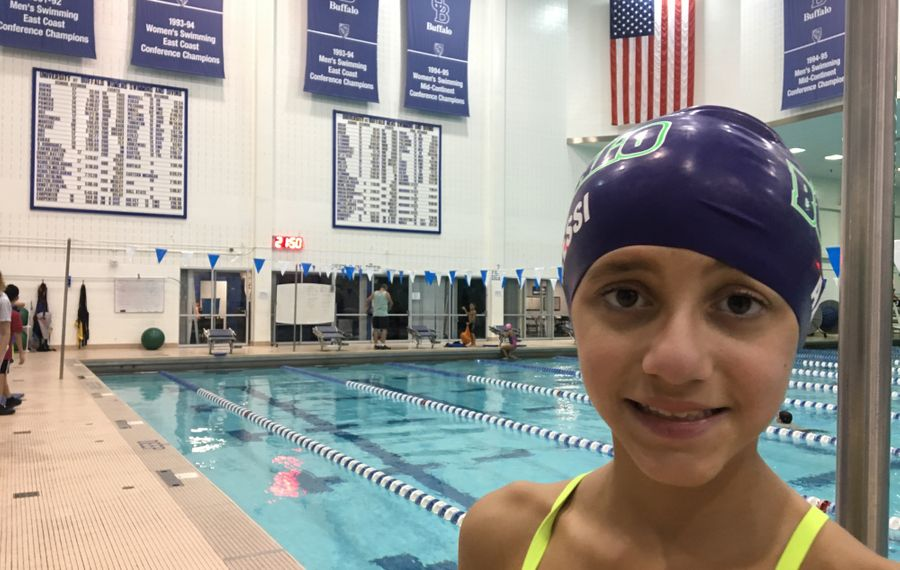 Lucy Alessi, who turned 10 on Wednesday, published a new book about swimming this summer and launched a website — but she has even bigger plans. (Scott Scanlon/Buffalo News)