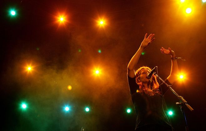 As summer ends, our music scene moves inside and heats up. Neko Case (Asbury Hall, 9/26) is one of several prominent artists set to make this fall a musically fertile one.  (Karl Walter/Getty Images)