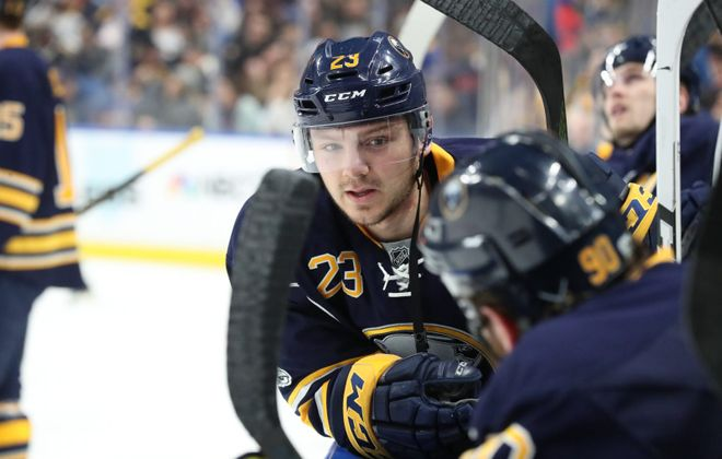 Sam Reinhart's 19th goal of the season was his 200th NHL point. (James P. McCoy/News file photo