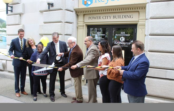 At the Sept. 20, 2018, opening of the Children's Clinic of Western New York were, from from: Andrew Dugan, representing State Sen. Robert G. Ortt; Board President of New Directions Youth and Family Services Christine Week;, child mental health counselor Isaiah Mantooth–Jordan; Niagara Falls Mayor Paul A. Dyste; CEO of New Directions James Coder; Niagara Falls School Superintendent Mark Laurrie; child mental health counselors Michelle Volpe; and Alexandra Mastoras, and Niagara USA Chamber President and CEO Korey Schuler. (Contributed photo)