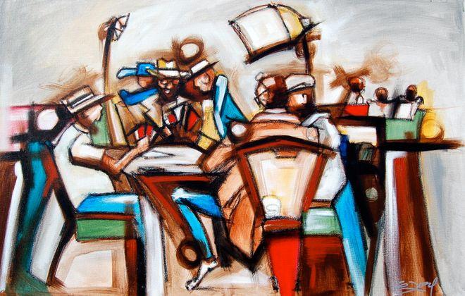 """Card Sharks"" by Florida-based artist Gerald Ivey, acrylic on canvas."