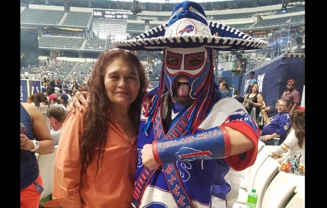 Ezra Castro, best known as 'Pancho Billa,' with his mom, Aurora, at last April's NFL draft. (Provided photo)
