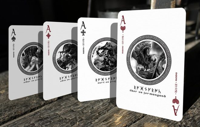 Ragnarok Norse playing cards designed in Denmark.