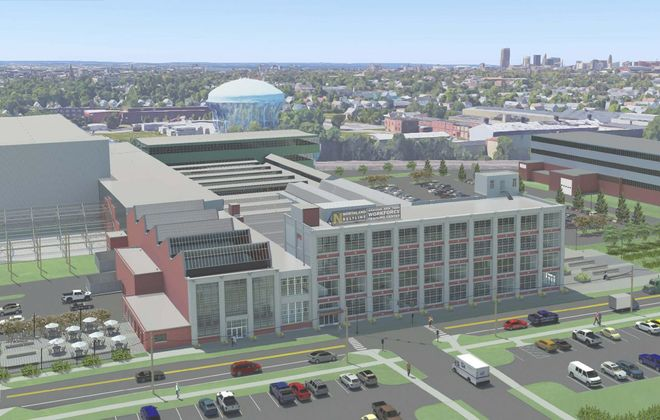 An aerial rendering of the Northland Corridor Workforce Training Center building at 683 Northland Ave.