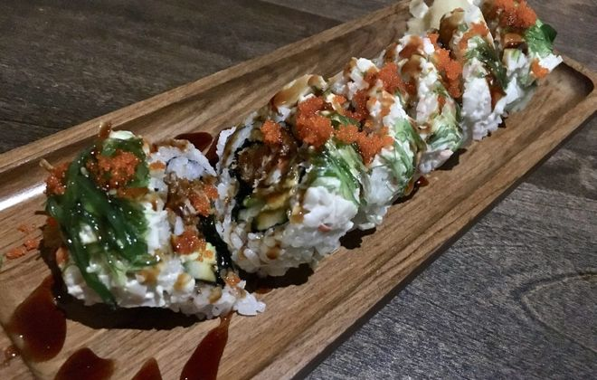 The kiss of the spider woman roll ($12.99) is an ornate novelty sushi roll featuring soft shell crab and crab salad. (Phil Wagner/Special to The News)