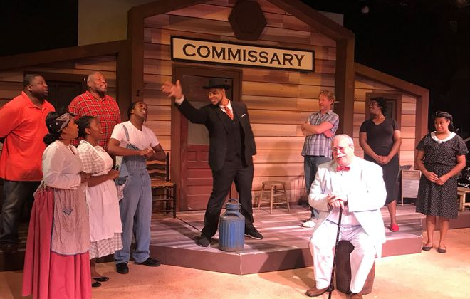"""The cast of Paul Robeson Theatre's """"Purlie,"""" which mixes two outstanding lead roles with real musical issues. (via Paul Robeson Theatre)"""