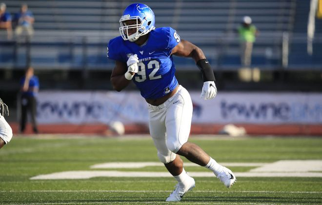 University at Buffalo defensive end Chuck Harris.(Harry Scull Jr./ Buffalo News)