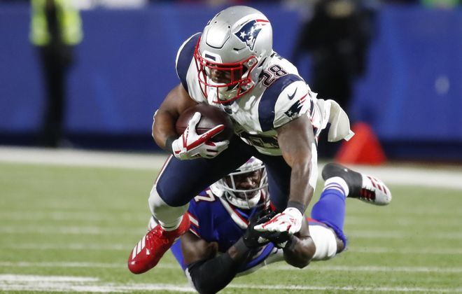 Tre'Davious White will need to make tackles on James White, as on this play in October at New Era Field. (Harry Scull Jr./News file photo)