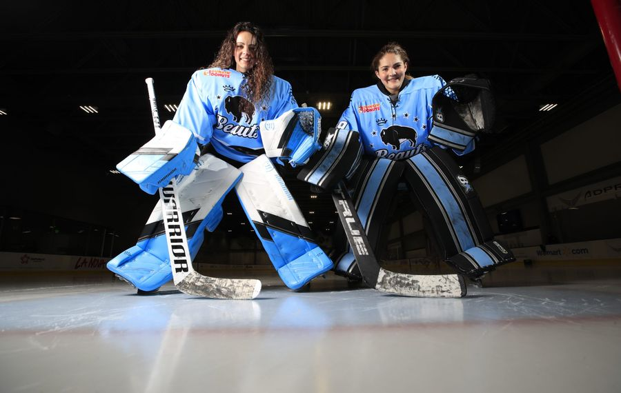Buffalo Beauts goaltenders Shannon Szabados, left, and Nicole Hensley. (Harry Scull Jr./Buffalo News)
