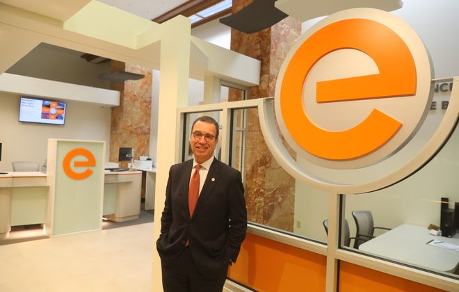 David Nasca, president and CEO of Evans Bank, wants the bank's new downtown branch to be a gathering spot. (John Hickey/Buffalo News)
