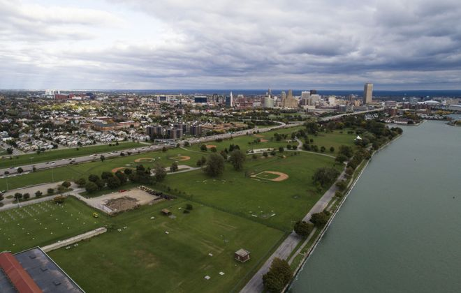 LaSalle Park is being remade into the Ralph C. Wilson Jr. Centennial Park, thanks to $50 million from the Ralph C. Wilson Jr. Foundation. The park is tentatively expected to be complted in 2024. (Derek Gee/News file photo)
