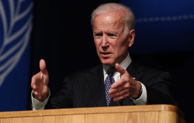 Former Vice President Joe Biden speaks at the University at Buffalo last year. Biden is the Democratic Party's presumptive presidential nominee, making New York's primary superfluous and, during a deadly pandemic, dangerous. (Sharon Cantillon/News file photo)